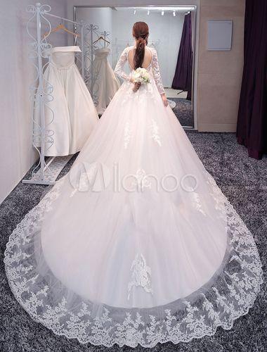 princesse robe de mariée jardin église Avec traîne col rond dos décolleté en tulle Tissu de satin ivoire 1m Suppliers - Milanoo.com