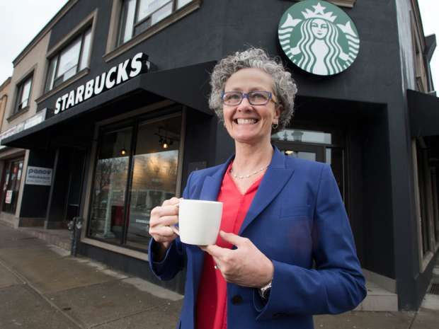 "Starbucks Canada president Rossann Williams at a Bloor West Village restaurant that will serve wine and an expanded menu starting at 2 p.m., April 5. ""We already have the customers in our stores,"" she said. We are just extending the type of experience that they can have with this Evenings menu."""