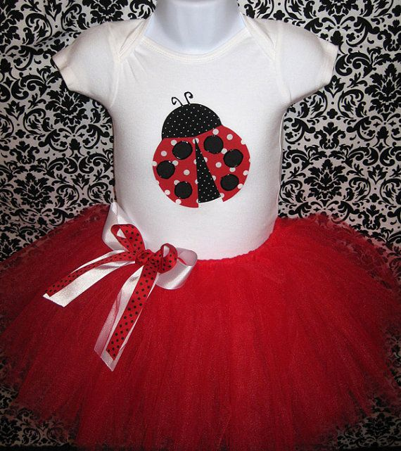 Girls Ladybug Tutu and Onesie BodysuitNewborn Baby by Zobows, $35.00