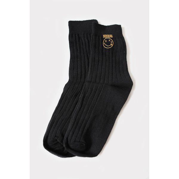 Nirvana Socks (€11) ❤ liked on Polyvore featuring intimates, hosiery, socks, silver socks and tube socks