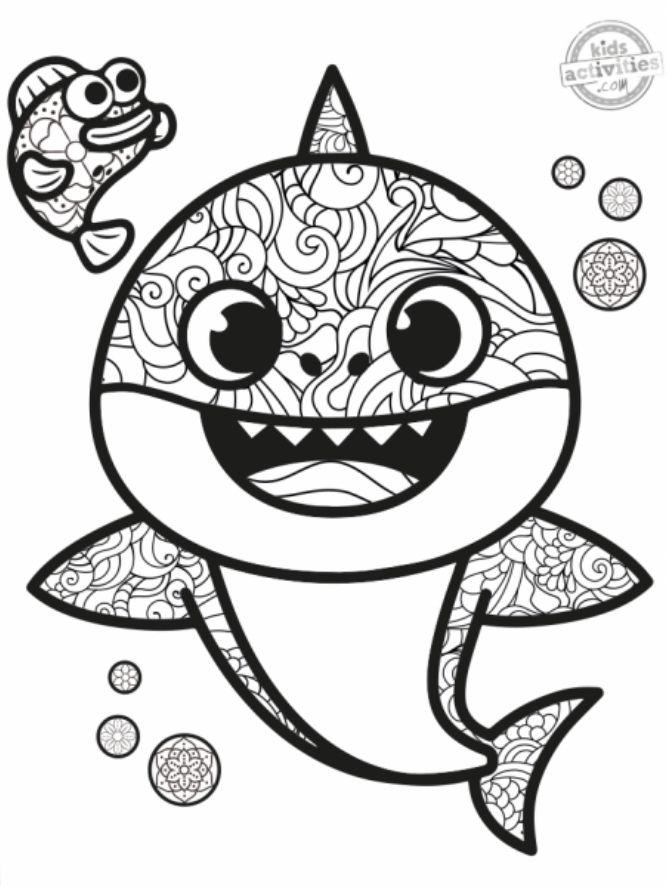 Baby Shark Mandala Raskraska Akulyonok Bejbi Shark Pinkfong Super Simple Shark Coloring Pages Coloring Pages Color