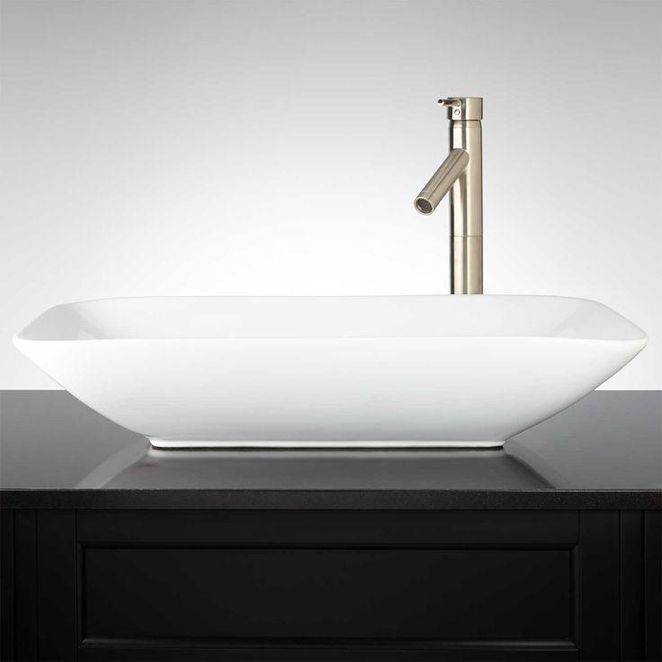 Valexo rectangular porcelain vessel sink sinks and vessel sink - Vessel sink base ideas ...