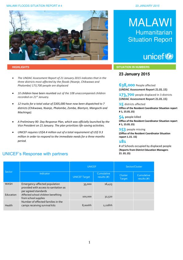 UNDAC Malawi report  The UNDAC Assessment Report of 21 January 2015 indicates that in the three districts most affected by the floods (Nsanje, Chikwawa and Phalombe) 173,700 people are displaced 10 children have been reunited out of the 108 unaccompanied children recorded on 21st January. 12 trucks for a total value of $305,000 have now been dispatched to 7 districts (Chikwawa, Nsanje, Phalombe, Zomba, Blantyre, Mangochi and Machinga).
