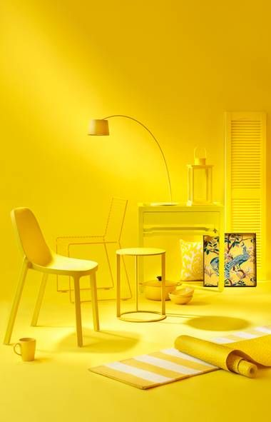 a splash of cheery, optimistic yellow (Pantone's choice is called Lemon Zest) can enhance a kitchen, home office or other space in need of a pick-me-up, says Stephanie Saunders, who styled the vignettes on these pages. Yellow is especially ideal in rooms that get natural light, which will amplify its brightness.