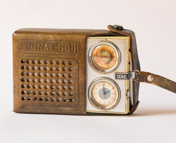 Soviet radio transistor SIGNAL 601 brown leather case radio vintage pocket transistor home decor