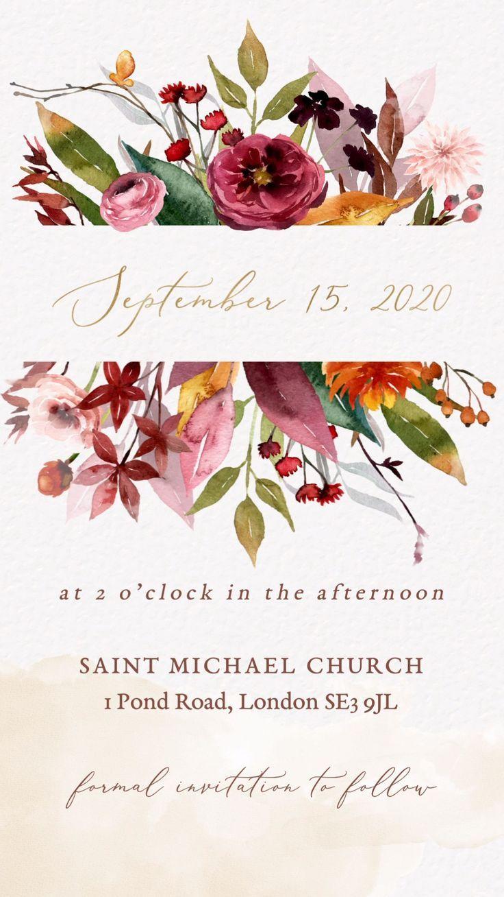 Fall Wedding Invitation Video In 2020 Wedding Invitations Boho Digital Wedding Invitations Wedding Invitations