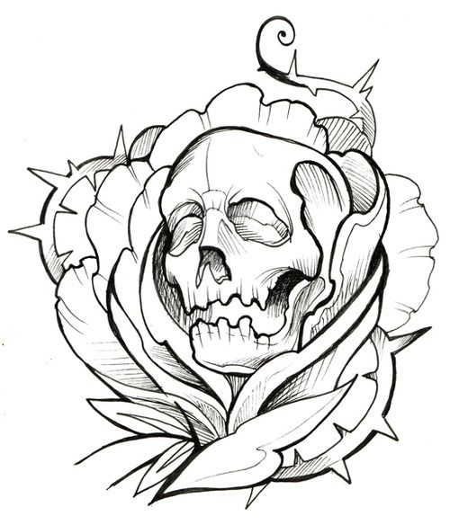 Skull Thorns Rose Ink Tattoo Outline