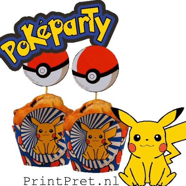 Pokemon traktaties, cupcake wikkels, onderdeel van het doe het zelf Pokemon feestpakket van PrintPret.nl #pokemon #pickachu #traktatie #kinderfeestje #feestpakket #diy #printpret www.printpret.nl
