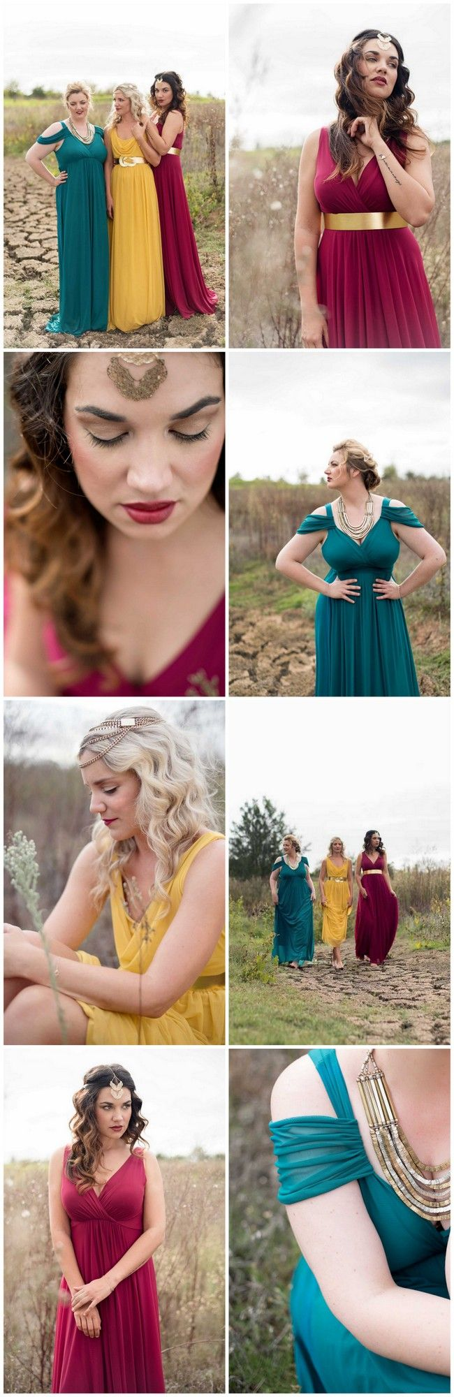 If you're looking for a bold statement, try mixing strong but complementary, solid colors in the gowns of the same length. Bring the look together with statement accessories in the same shade and theme that unify the looks between all the girls.