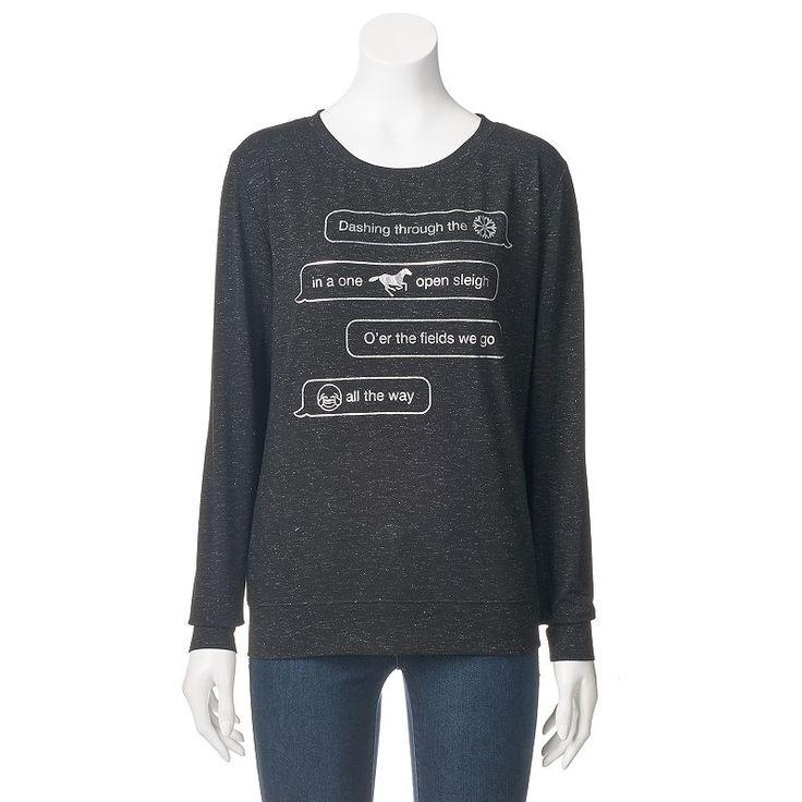 Juniors' Fifth Sun Emoji Christmas Sweatshirt, Girl's, Size: Medium, Black