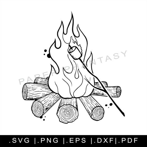 Camp Fire Marshmallow Grunge Outline Svg Files Clipart Tattoo Print File For Cricut Instant Image Si In 2021 Camp Fire Tattoo Polar Bear Tattoo Fire Tattoo