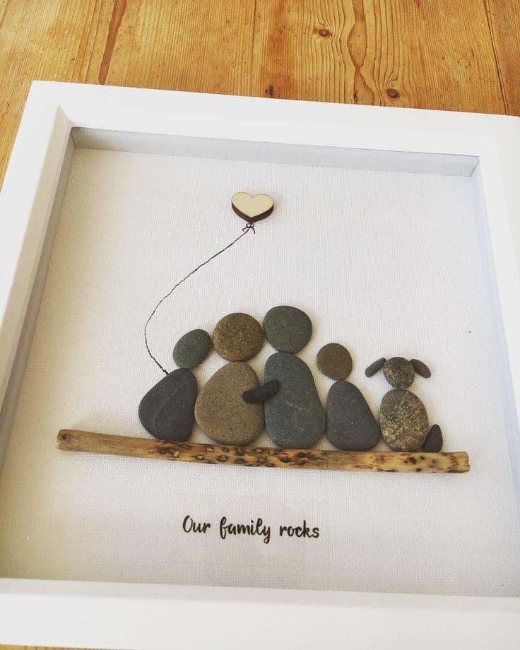 Kiesel Bild Familie 4 + Hund, handgefertigt in Schottland, Kiesel Kunst, kann jede …
