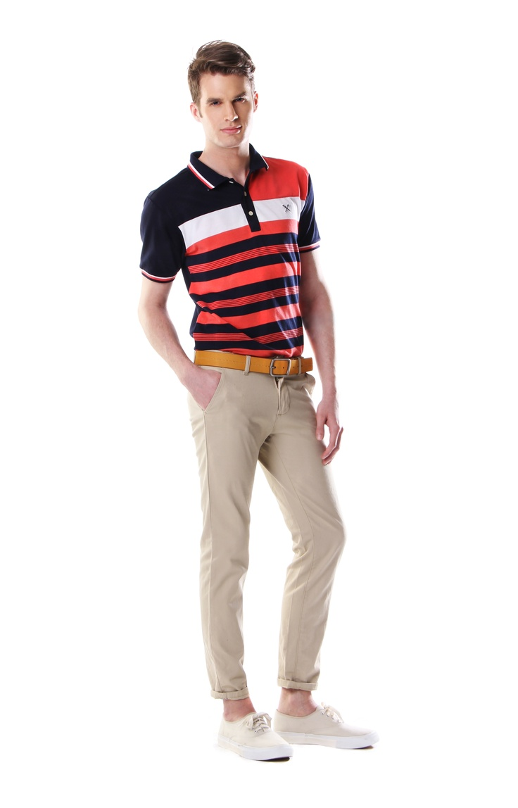 TOP: Striped pique polo; available in coral and turquoise BELT: Tan leather  belt