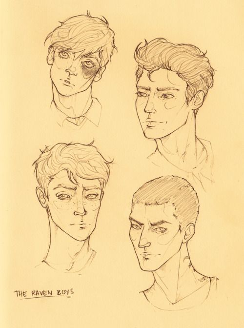 couldn't sleep last night (shocker!) so i doodled the boys in my sketchbook! noah, gansey, adam, and ronan, respectively.