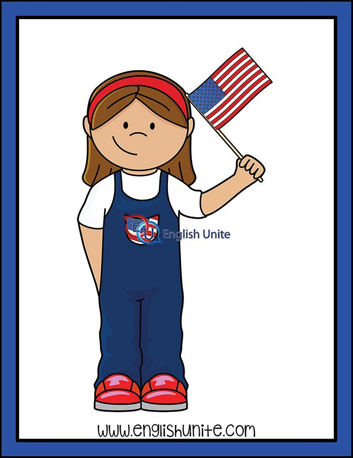 Presidents Day Girl With American Flag English Unite Clip Art Kids Clipart American Flag