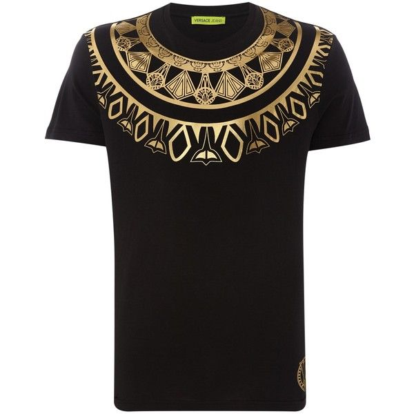 Versace Jeans Foil Chest Print T-shirt (165 CAD) ❤ liked on Polyvore featuring men's fashion, men's clothing, men's shirts, men's t-shirts, mens patterned t shirts, versace mens t shirt, mens print shirts, mens patterned shirts and mens crew neck t shirts