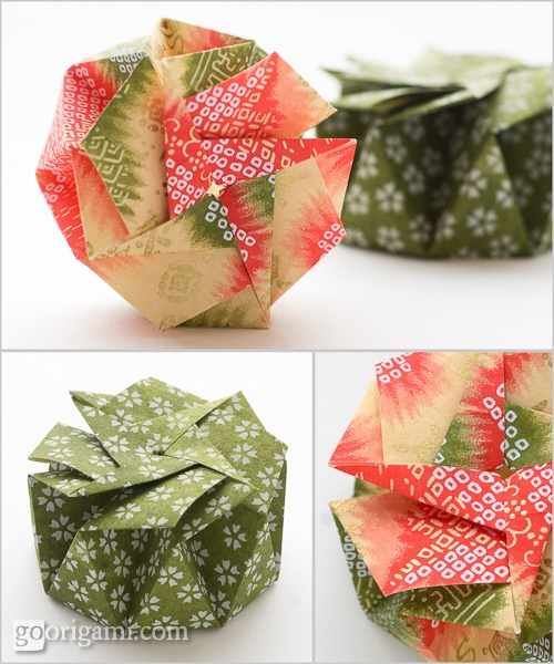Origami boxes, folded from one square