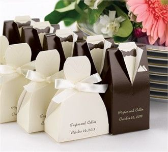 Personalized Ivory Gown and brown tux Favor Boxes - cute idea