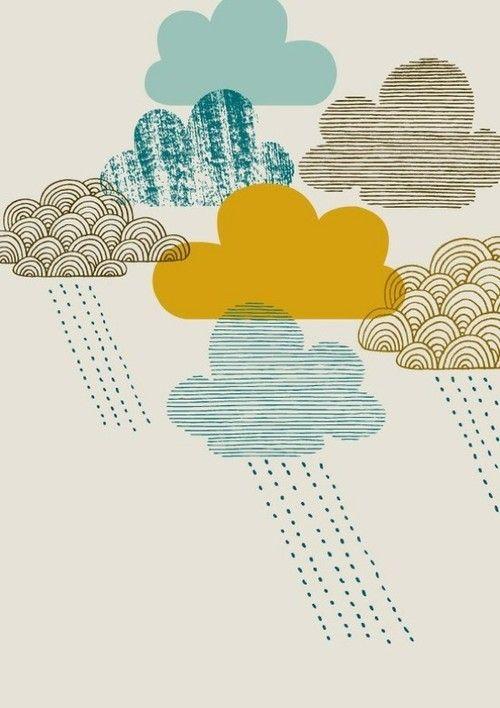 tumblr_m9n6xrfVXh1qdjhbho1_500.jpg (500×708): Eloi Renouf, Rainy Day, Pattern, Illustrations, April Shower, Cloud, Color Combinations, Graphics, Kids Rooms