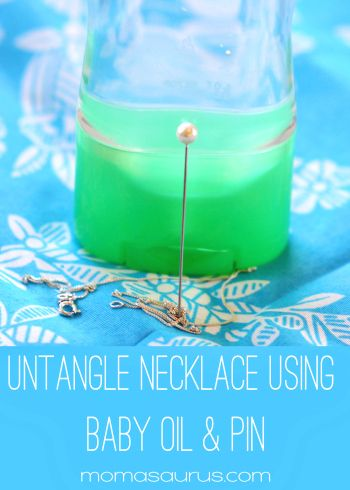 Untangle necklace with ease using baby oil.   #tips #jewelry #tricks #diy