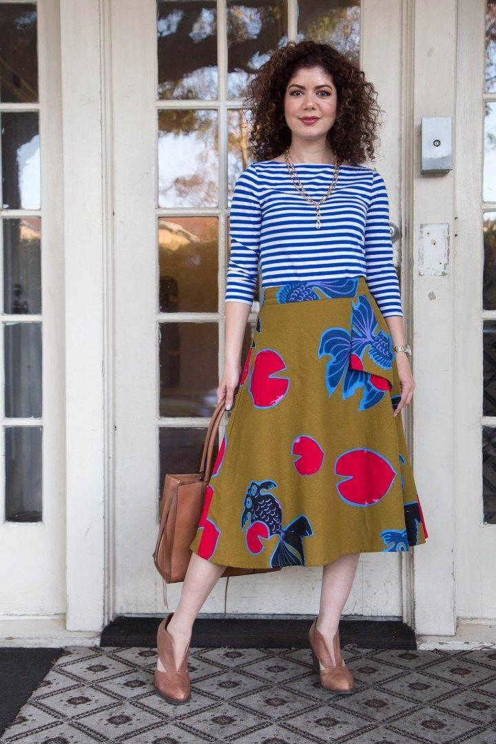 9b583a2a12a fall pattern mix outfit   midi skirt   eva franco   Betta A-line skirt