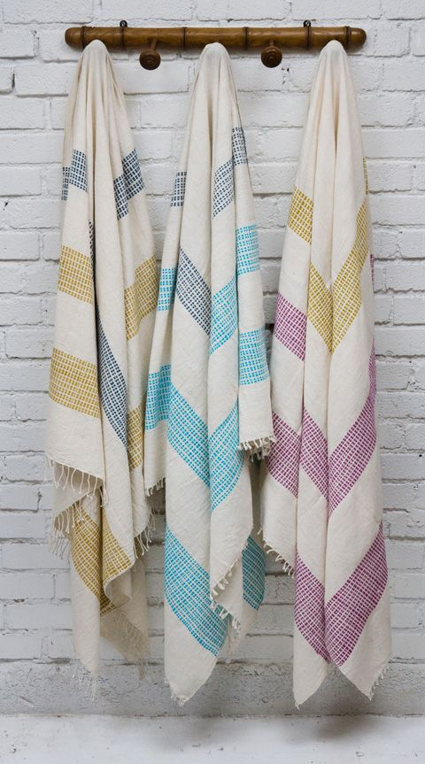 Hand woven bath towels from Ethiopia