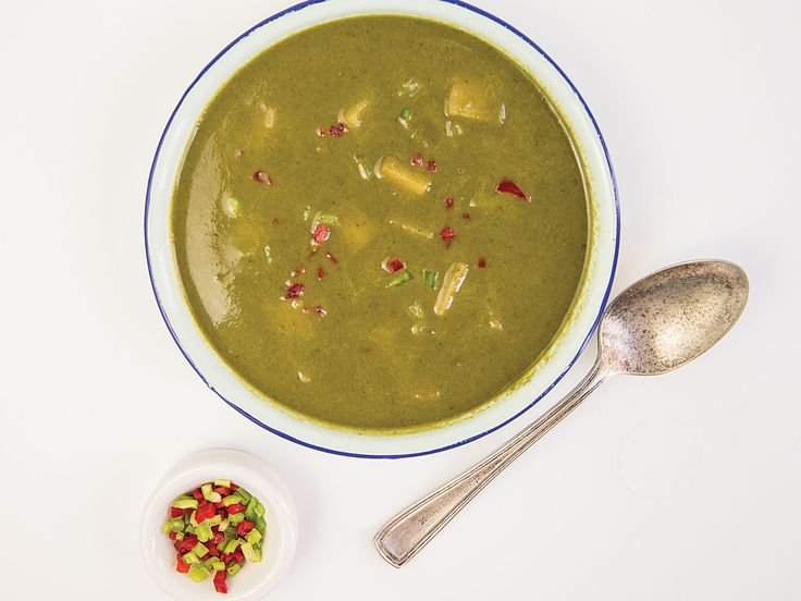 This vegetarian soup, a Jamaican classic, is made with callaloo, a spinach-like green that can be found canned or fresh in Caribbean groceries.