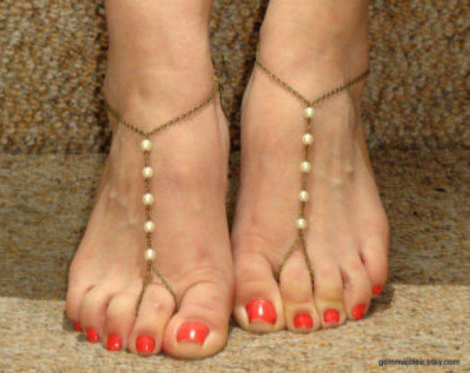 Bronzo perla sandali a piedi nudi, sandali a piedi nudi, sandali a piedi nudi perla, Gioielli piede, tallone a piedi nudi sandali, damigelle d'onore gioielli