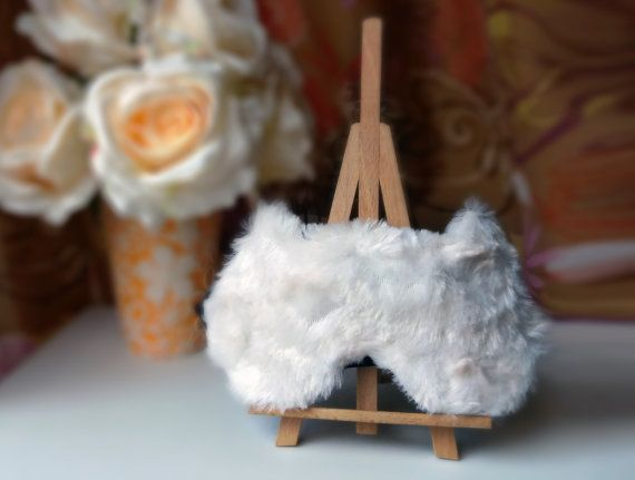 Furry Cat sleep mask  Cute Fluffy Fur kitty eye mask  Pj