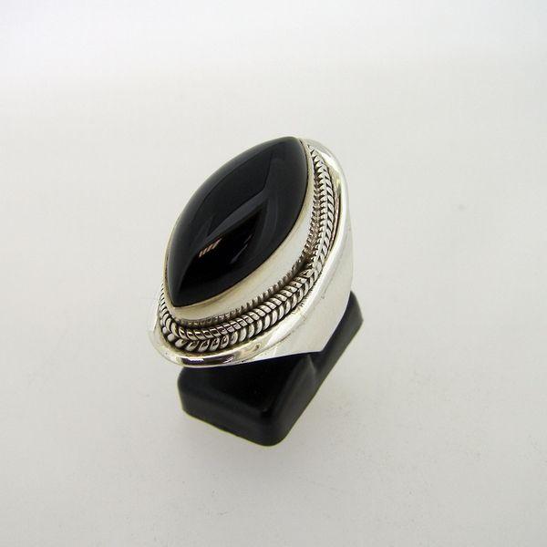 Zilveren edelsteen ring met zwarte Onyx maat 18.5 mm