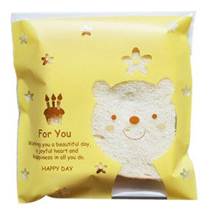 Bear Window Cellophane Bag - Self Adhesive Plastic Poly Bags for Cookies - cookie bags.