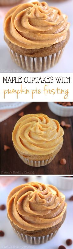 Maple Cupcakes with Pumpkin Pie Frosting -- SO easy with just 160 calories & nearly 6g of protein! Plus that creamy Greek yogurt frosting is healthy enough for breakfast!
