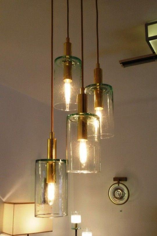 lustre verre soufflé, laiton www.atelierlandon | déco maison