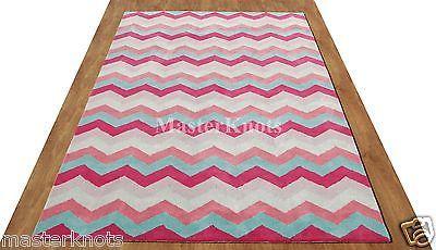 Chevron Style Zig Zag Multi Pink Hand Tufted 100% Wool Area Rug Carpet RUGS EDH
