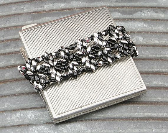 Black and Silver Beaded Bracelet by CatchTheBeads on Etsy