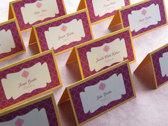 Indian Wedding Place Cards Purple Gold