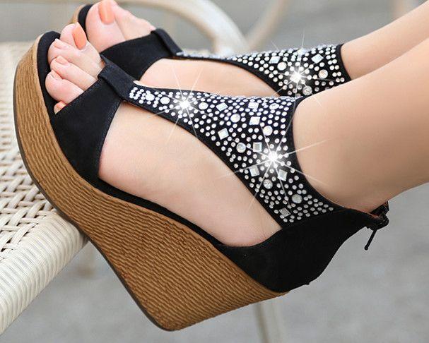 Sandales perlées talons compensés  de Edlwise sur DaWanda.com