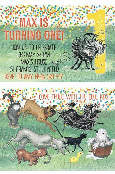 Hairy maclary invitation frolic kids invitation print at home hairy maclary donaldson dairy first birthday invitation first birthday kids party invite