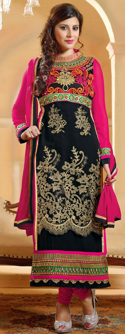Black Georgette Churidar Suit 42757