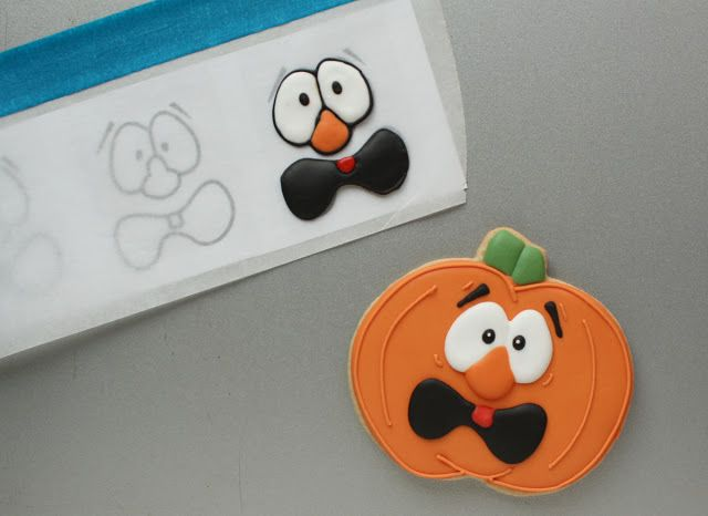Silly Pumpkin Faces with Royal Icing Transfers   Klickitat Street (Different faces to select from)
