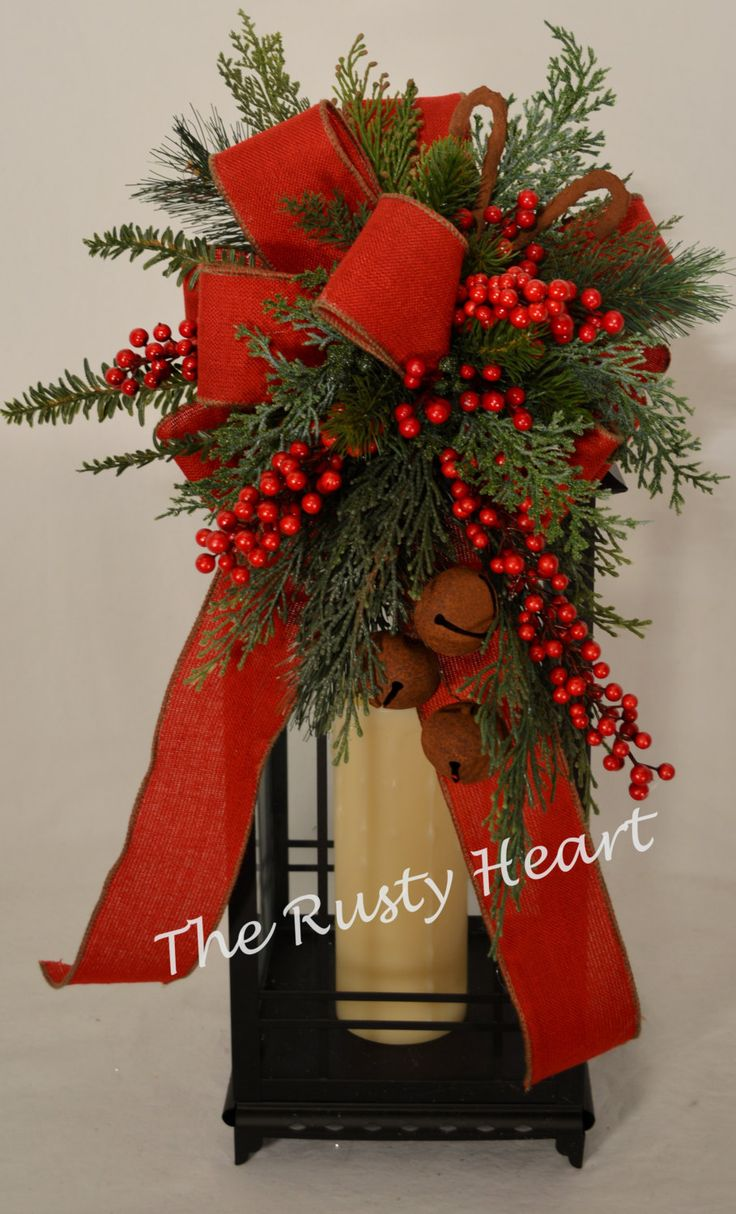308 best christmas lanterns images on pinterest diy christmas christmas lantern swag with red burlap ribbon by therustyheart solutioingenieria Image collections