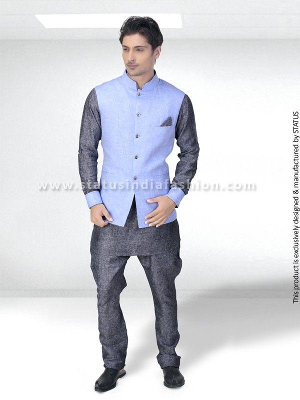 Grey Linen Pathani Suit PT02