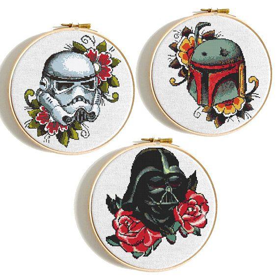 Star Wars cross stitch Floral Darth Vader pattern Disney Cross stitch Stormtrooper Counted cross stitch Starwars Trilogy Modern embroidery