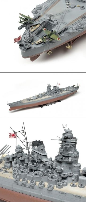 """Tamiya 1/350 scale IJN Yamato - Commissioned less than two weeks after Pearl Harbor, the Imperial Japanese Navy Yamato was, throughout most of World War II the largest, most heavily armored and armed battleship in the world. It carried nine 46cm (18.1"""") guns and up to 650mm (26"""") of armor. Yamato was sunk by bombs and torpedoes on April 7, 1945, in Operation Ten-Go, a last, desperate effort to break the American assault on Okinawa. Sixty-five years later, the name Yamato remains legendary."""