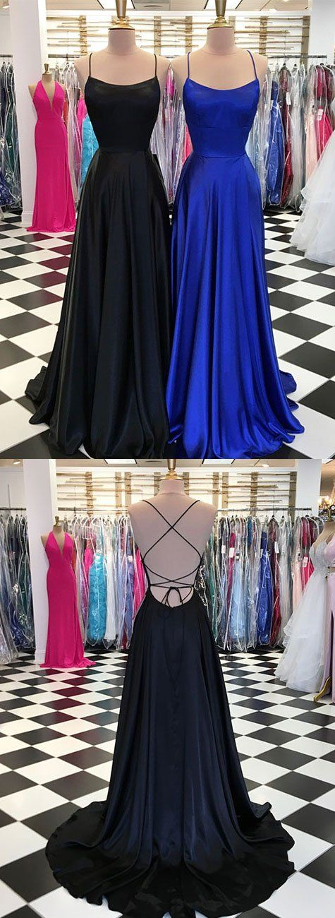 Simple satin long prom dress, long evening dress, blue backless formal dress