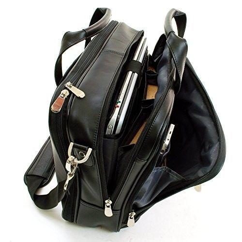 Black Leather Briefcase Messenger Laptop Bag Zip Top w/ Front Organizer Section #AlpineSwiss #MessengerShoulderBag