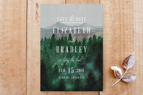 """""""Adventure Awaits"""" - Destination, Rustic Save The Date Cards in Smoke by Elly."""