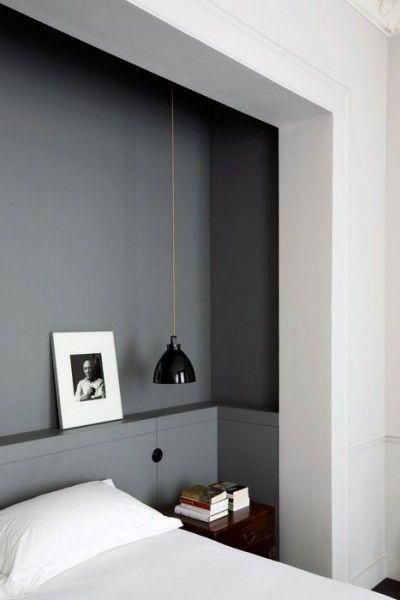 Mur gris tête de lit chambre...
