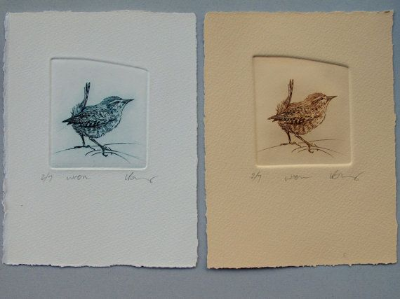 Beautiful wren drypoint etching in blue or brown by LynnBaileyPrintmaker,