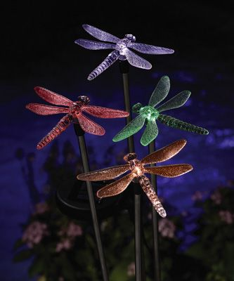 color changing solar dragonfly lawn stakes from collections etc